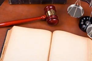 Blank old book and law concept
