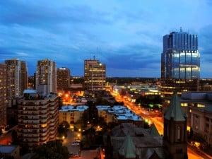 Downtown London, Ontario, at night