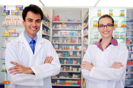 happy pharmacists at pharmacy