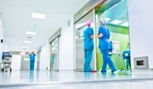 Blurred nurses surgery corridor