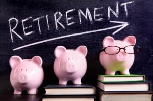 Three piggy banks with retirement savings message