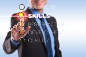 Man pointing at skills sign